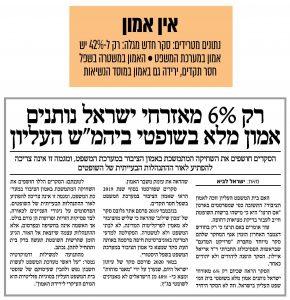 """רק 6% מאזרחי ישראל נותנים אמון מלא בשופטי ביהמ""""ש העליון/ ישראל לביא מתוך עיתון שחרית, הכר את השופט"""